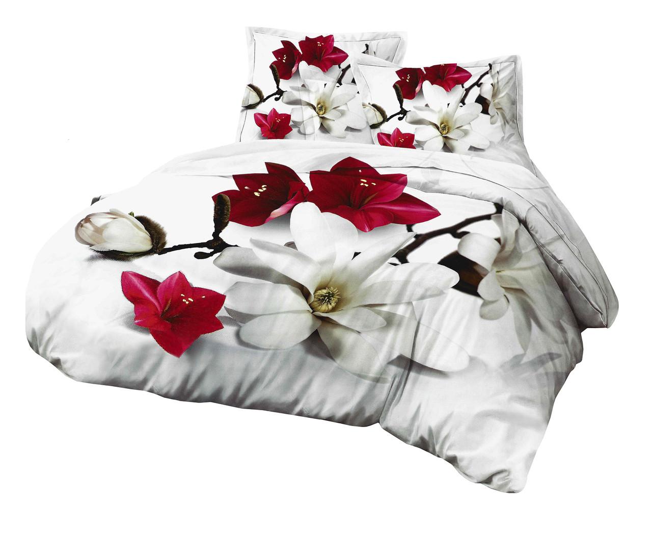 Комплект постельного белья Микроволокно HXDD-632 M&M 7205 Красный, Серый
