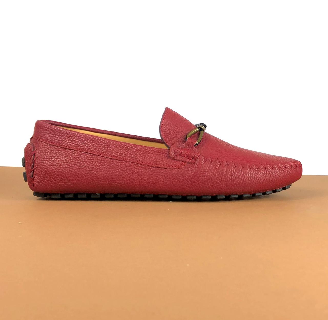 Мужские мокасины Louis Vuitton бордо (Луи Виттон) арт. 39-23