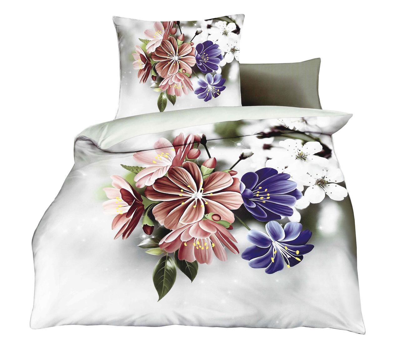 Комплект постельного белья Микроволокно HXDD-787 M&M 7236 Кремовый, Бежевый, Фиолетовый