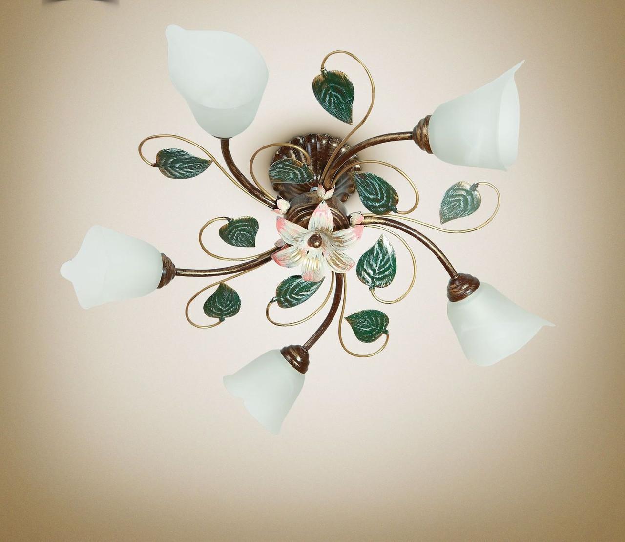 Люстра потолочная 5 ламповая металлическая для спальни, кухни, гостиной  16155-1