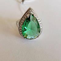 Кольцо из серебра родированное с зеленым цирконием Дерика