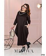 Очаровательное платье батал в стиле бохо, фасон подола – «баллон», с 50 по 58 размер