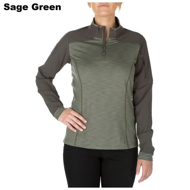 Оригинал Женские боевая тактическая рубашка 5.11 Tactical WOMEN'S RAPID HALF ZIP 62381 Medium, Charcoal