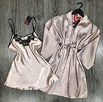 Халат, нічна сорочка-атласний комплект двійка.