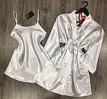 Білий комплект домашньої одягу халат+пеньюар.
