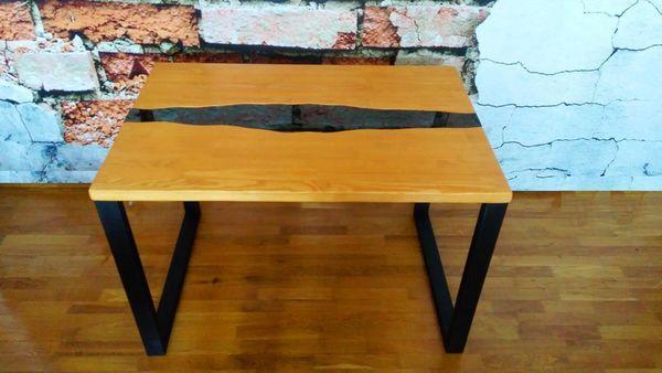 Стол кальянный для 4 человек LOFT 60 см металлический с деревянной столешницей и стеклом