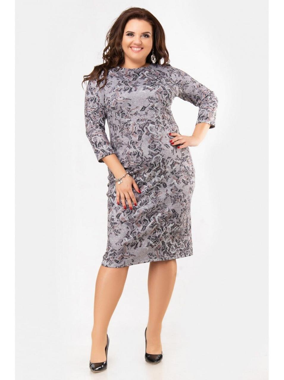 """Стильное женское платье с геометричным принтом ткань мягкая """"Ангора""""с 52, 56 размеры баталы"""