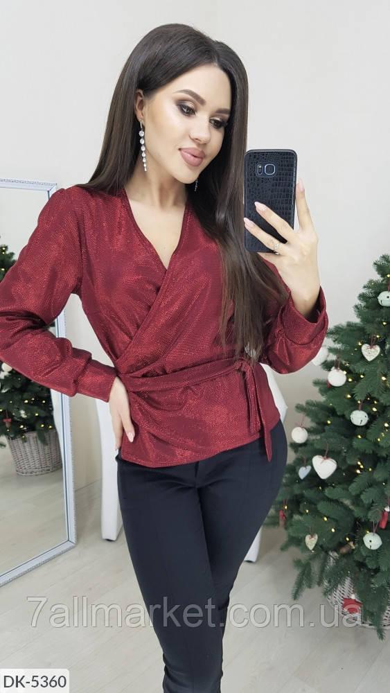 """Блуза женская люрексовая на запах мод. 048 (42-44, 46-48) """"VERA"""" недорого от прямого поставщика"""