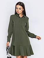 Платье рубашка хаки до колена мини 44 46 48