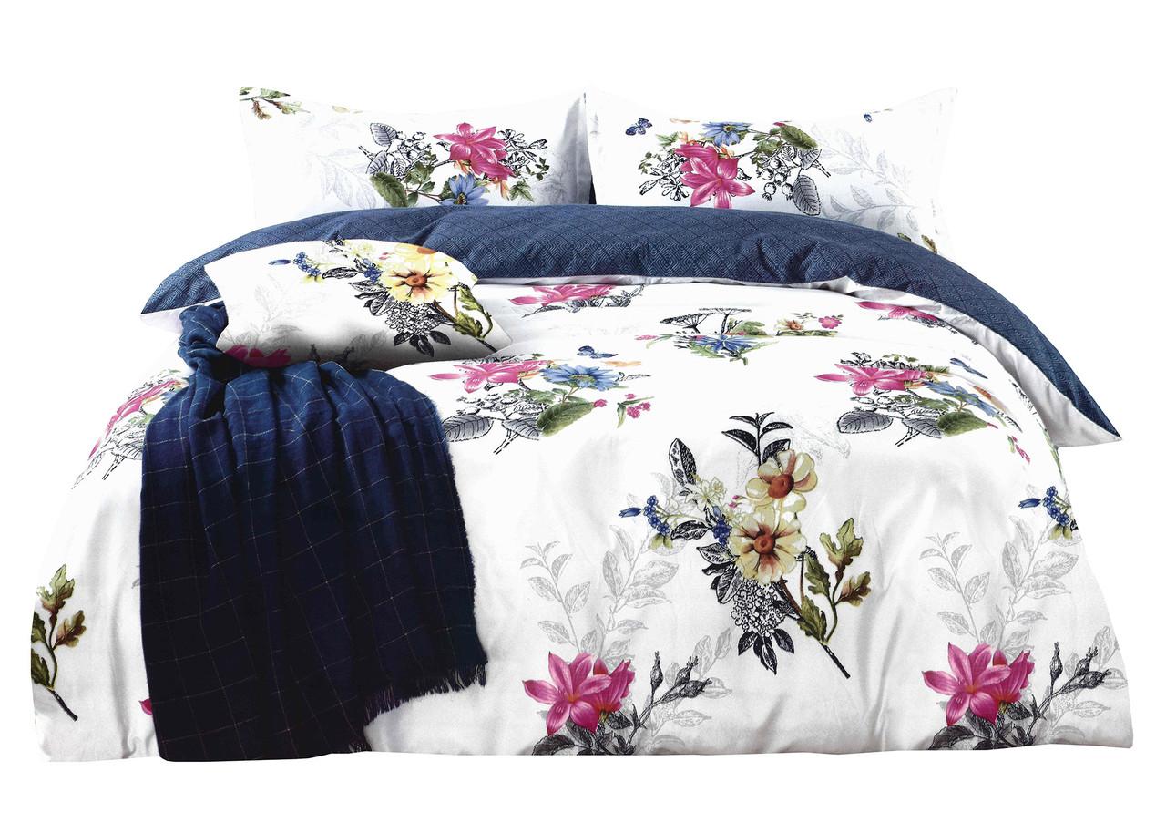 Комплект постельного белья Микроволокно HXDD-796 M&M 7335 Белый, Зеленый, Розовый