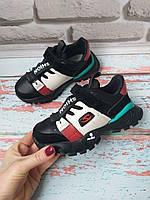 Детские кожаные черные кроссовки на мальчика, фото 1