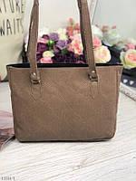 Кожаная женская сумка на плечо средняя классическая сумочка натуральная кожа бежевая