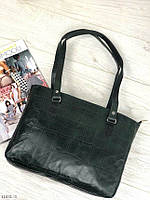 Зеленая женская кожаная сумка небольшая классическая деловая сумочка натуральная кожа