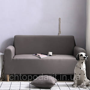 Чехол на диван универсальный для мебели цвет серый 90-140см