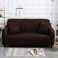 Чехол на диван универсальный для мебели цвет коричневый 140-175см Код 14-0557