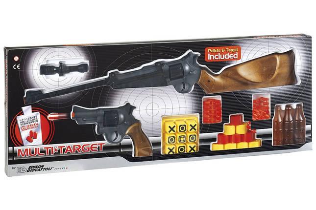 Игрушечные ружьё и пистолет Edison Giocattoli Multitarget набор с мишенями и пульками (629/22), фото 2