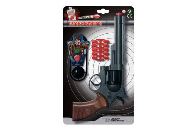 Игрушечный пистолет на пульках Edison Giocattoli Ron Smith 28см 8-зарядный с мишенью (463/33), фото 2