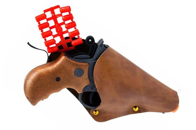 Игрушечный пистолет с кобурой Edison Giocattoli Derek Steel 19см 6-зарядный (571/23), фото 2