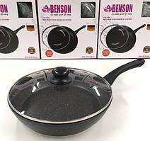 Сковорода с крышкой Benson BN-503 (Мраморое покрытие)  26см