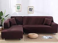 Чехол на диван универсальный для мебели цвет коричневый 175-230см