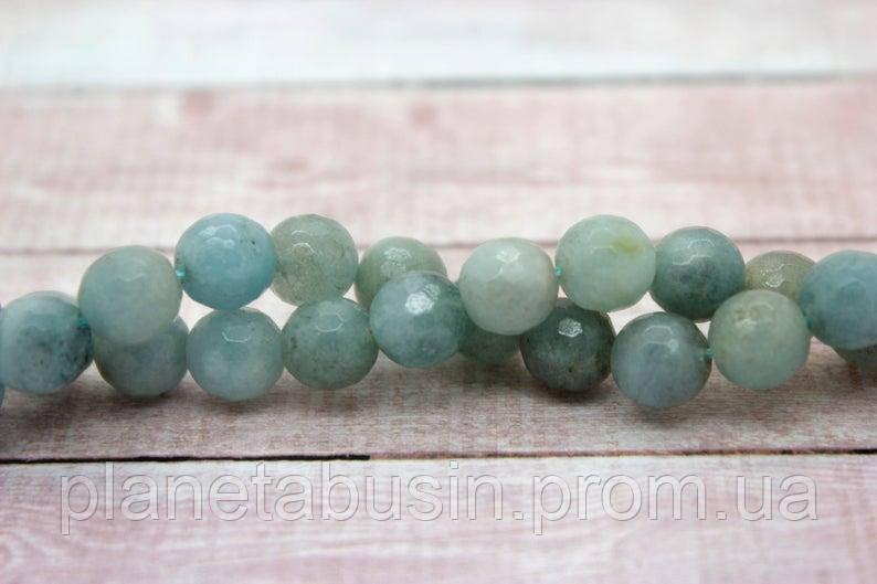 10 мм Аквамарин (Кварц) ,  Натуральный камень, Форма: Граненый Шар, Отверстие: 1-1.5 мм, кол-во: 38-40 шт/нить