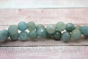 10 мм Аквамарин (Кварц) ,  Натуральный камень, Форма: Граненый Шар, Отверстие: 1-1.5 мм, кол-во: 38-40 шт/нить, фото 2