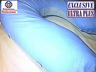 Подушка для беременных Exclusive ULTRA PLUS, в комплекте наволочка 2-стор.- Голубая+голубые точки, фото 1