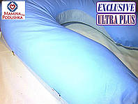 Подушка для беременных Exclusive ULTRA PLUS, в комплекте наволочка 2-стор.- Голубая+голубые точки