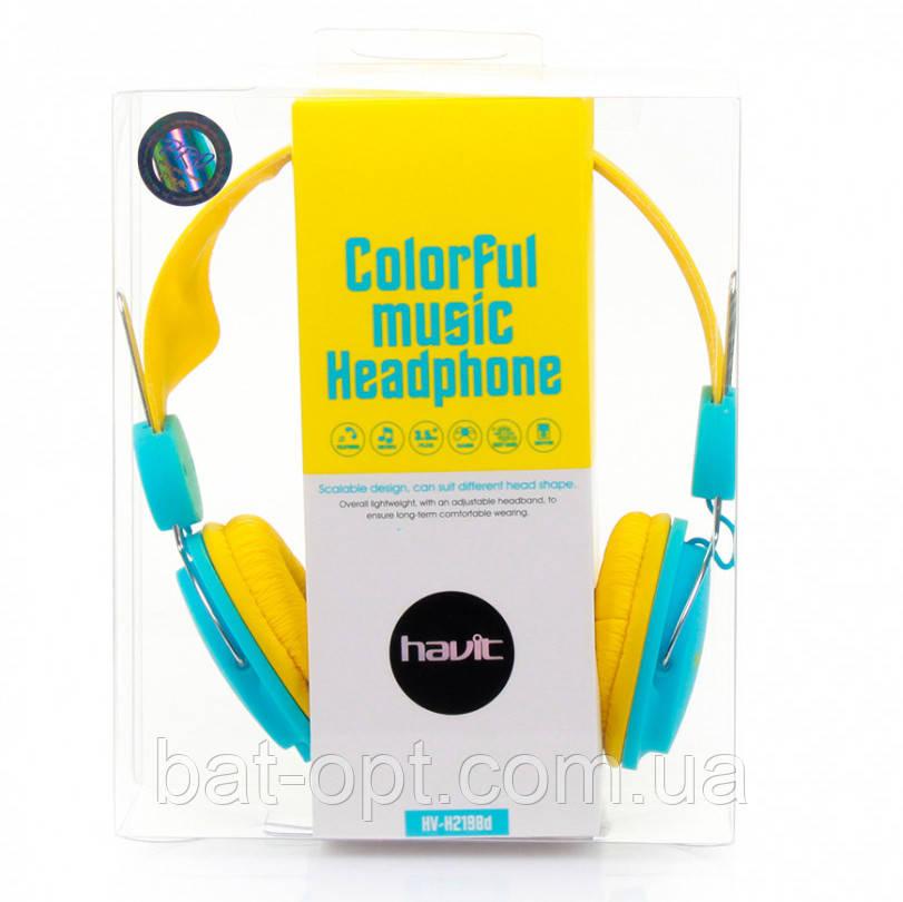 Наушники с микрофоном Havit HV-H2198D желто-голубые