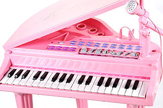 """Детское пианино синтезатор Baoli """"Маленький музикант"""" с микрофоном и стульчиком 37 клавиш (розовый), фото 2"""