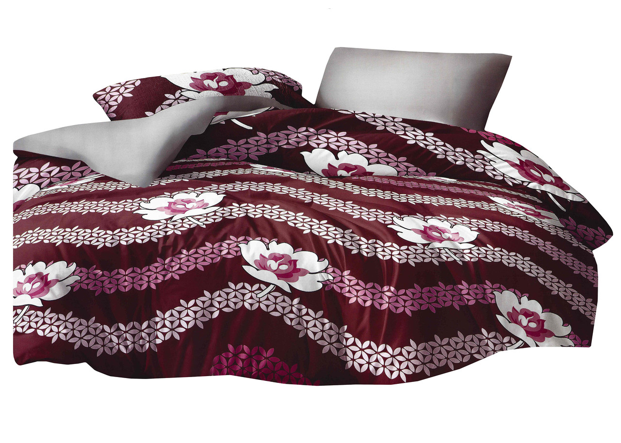 Комплект постельного белья Микроволокно HXDD-827 M&M 8080 Красный, Белый