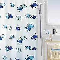 Шторка д/ванної HUGO pvc 180х200 блакитна_10.01951