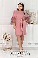 Платье пудрового цвета с кружевом на рукавах батал Размеры: 50,52,54,56,58,60
