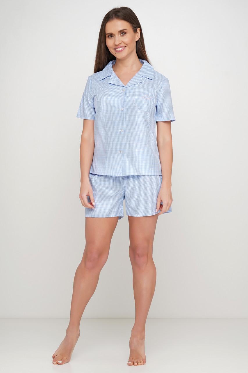 Голубая  пижама шорты рубашка в клетку