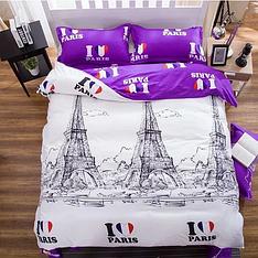 """Полуторный комплект постельного белья Бязь Голд """"Я люблю Париж"""""""