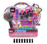 Детская косметика 81026: расческа, лаки, блеск для губ - набор декоративной детской косметики для девочки
