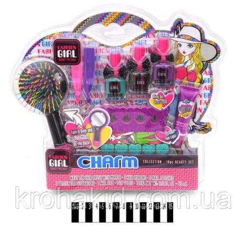 Детская косметика 81026: расческа, лаки, блеск для губ - набор декоративной детской косметики для девочки, фото 2