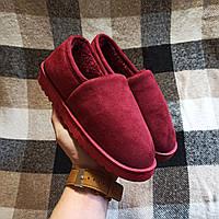 РАЗМЕРЫ 40, 41, 42 Бордові червоні теплі низькі УГГІ короткі, сліпони хутряні на хутрі тапочки зимові .