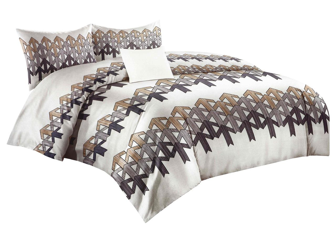 Комплект постельного белья Микроволокно HXDD-825 M&M 8097 Белый, Коричневый, Серый