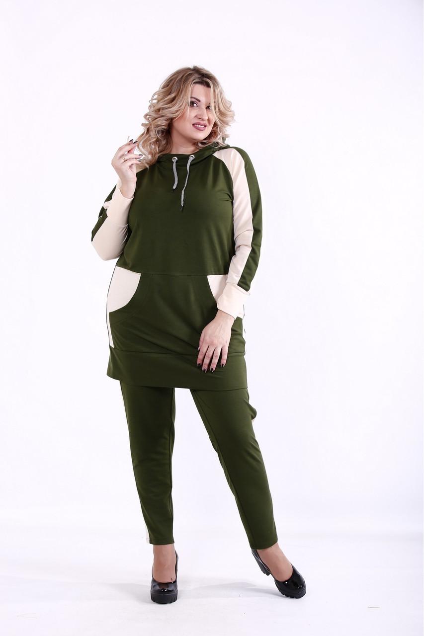   Зеленый спортивный костюм большого размера   01380-3