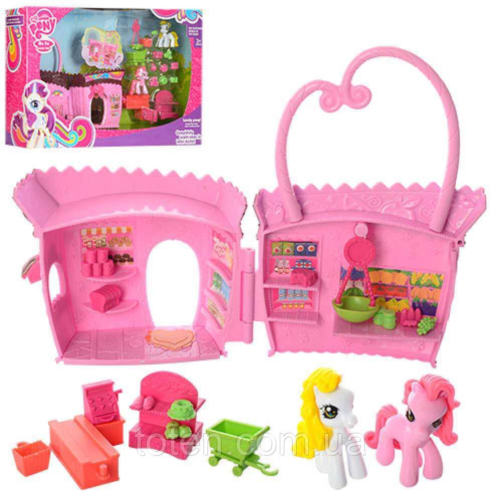 Домик сумочка 19 см для Пони My little pony, лошадка 2шт, мебель, аксессуары 737