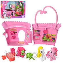 Будиночок сумочка 19 см для Поні My little pony, конячка 2шт, меблі, аксесуари 737