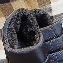 Короткі уггі автоледі сліпони хутряні низькі дутики не промокающие зимові теплі чорні, фото 3