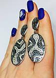 Длинные серебряные серьги с бело-черными цирконами Тефия, фото 4