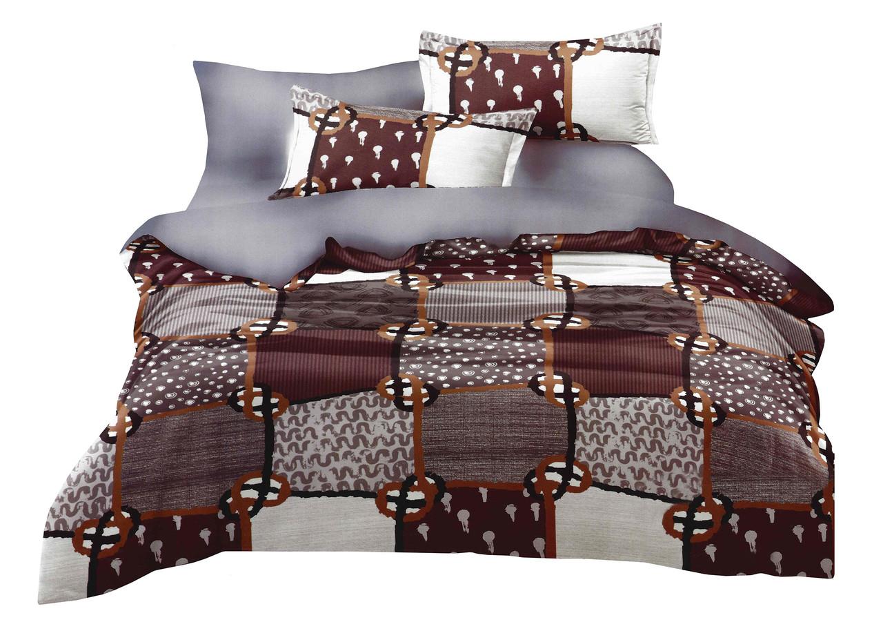 Комплект постельного белья Микроволокно HXDD-818 M&M 8103 Серый, Коричневый