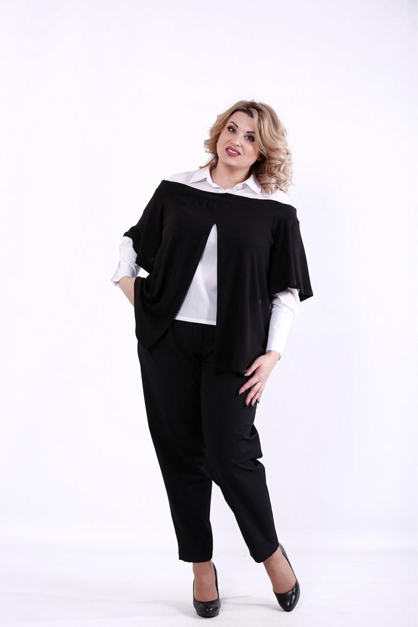 01381-3   Черный костюм: блузка и брюки большого размера