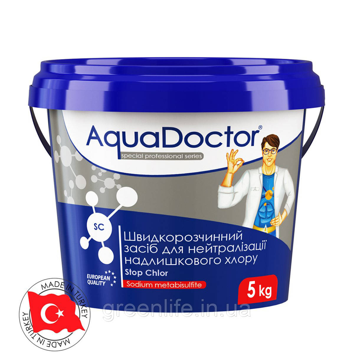 Средство для нейтрализации избыточного хлора AquaDoctor SC Stop Chlor (5 кг), Аквадоктор, 5кг