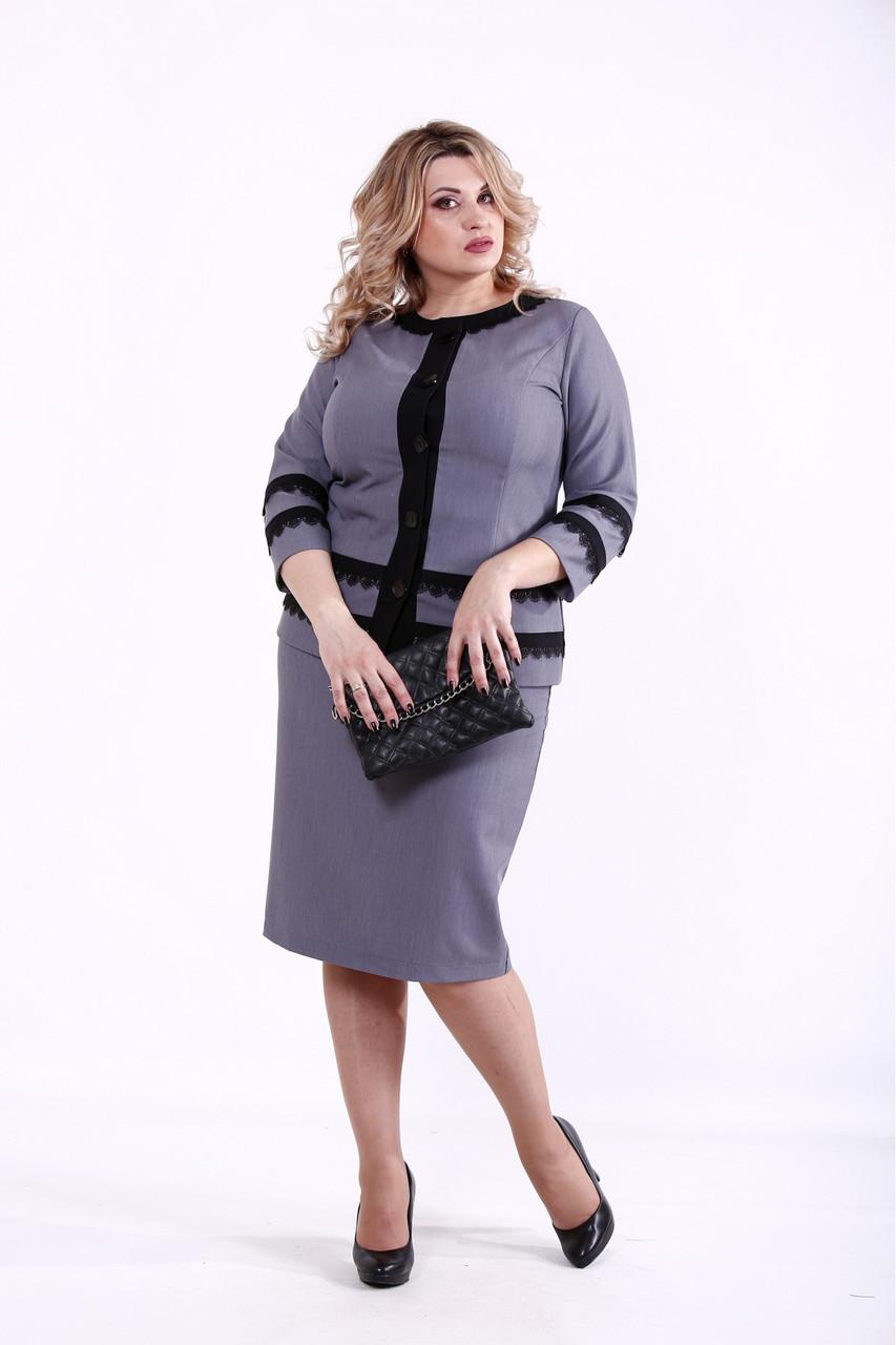 01382-2   Сірий костюм великого розміру