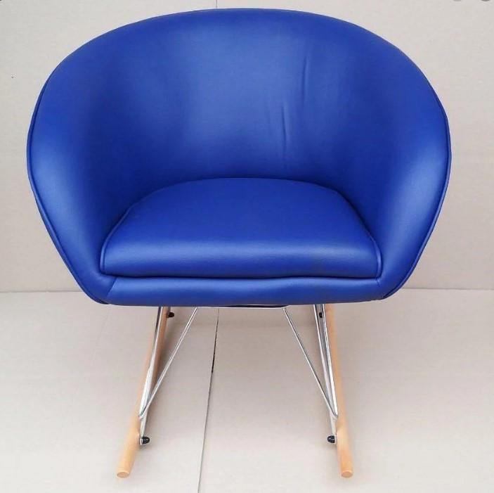 Кресло Мурат R качающееся, экокожа, цвет синий