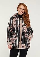 Женская двухсторонняя демисезонная стеганая куртка весна/осень больших размеров (50,52,54,56,58,60,62)